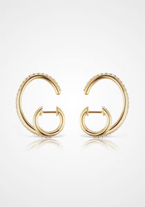 Espionne II, 14K Yellow Gold + Diamond Pavé Earrings