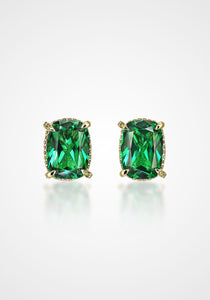 Cushion Wing, 18K Gold Vermeil + Emerald Studs