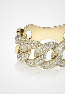 Luxe Light, 14K Yellow Gold + Diamond Chain Link Ring