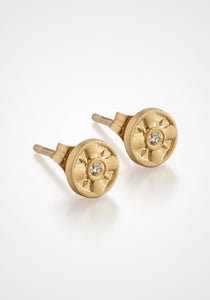 Eye Of The Sun, 14K Yellow Gold + Diamond Studs