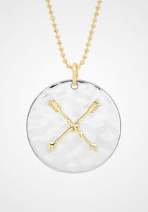Liquid Metal Arrow, 14K Yellow Gold, Sterling Silver + Diamond Medallion