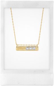 Liquid Metal Bar, 14K Yellow Gold, White Gold + Diamond Necklace