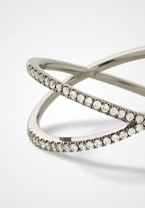 The Fine Shorty, 18K Blackened White Gold + White Pavé Diamond Ring