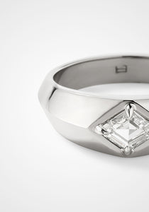 Rhombus Signet, 18K White Gold + Diamond Ring