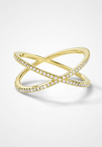 Fine Shorty, 18K Yellow Gold + White Diamond Ring