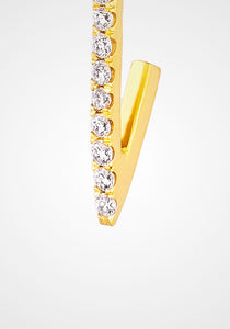 Triangle Stud, 18K Yellow Gold + White Diamond Pavé Earring