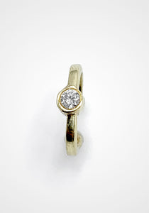 18K Yellow Gold + Solitaire Diamond Ear Cuff