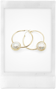 Large Pearl Bezel, 14K Yellow Gold Hoops