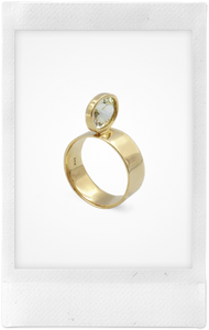 Perched Oval, 14K Yellow Gold + Canary Kunzire Ring