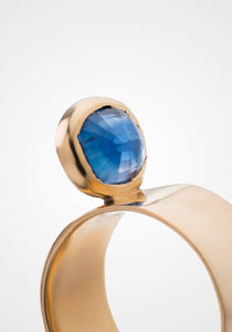Perched Setting, 14K Yellow Gold + Blue Himalayan Kyanite Ring
