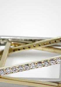Three Band Puzzle, 14K Mixed Gold + Diamond Pavé Ring