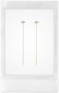 Floating Threads, 18K Yellow Gold + White Diamond Baguette Earrings