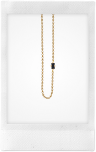 Floating, 18K Yellow Gold + Black Diamond Baguette Necklace