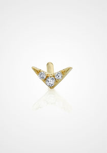 V Stud, 18K Yellow Gold + White Diamond Pavé Earring