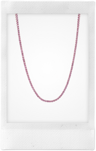 Riviére, 10K Rose Gold + Pink Sapphire Necklace