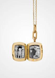 Viv Locket, 18K Yellow Gold + Diamond Necklace