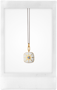 Cushion Locket, 18K Yellow Gold, Sterling Silver, + Blue Sapphire Necklace