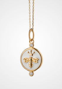Queen Bee Charm, 18K Yellow Gold, Diamond, + Enamel Necklace