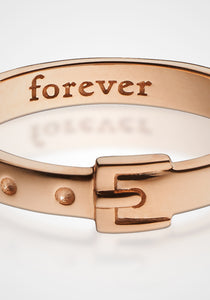 """Forever"" Poesy with Buckle, 18K Rose Gold Ring"