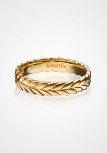 """Breathe"" Gold Leaf Poesy, 18K Yellow Gold Ring"