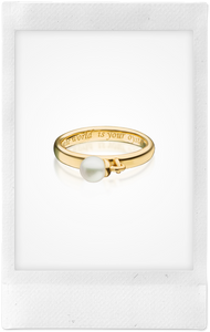 """The World Is Your Oyster"" Poesy, 18K Yellow Gold + Pearl Ring"