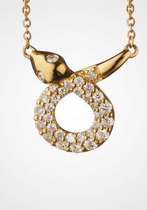 the-conservatory-nyc - MINI SNAKE CHARM NECKLACE, 18K GOLD WITH DIAMONDS - MONICA RICH KOSANN - JEWELRY