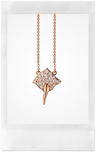 the-conservatory-nyc - MINI STINGRAY CHARM NECKLACE, 18K ROSE GOLD WITH DIAMONDS - MONICA RICH KOSANN - JEWELRY
