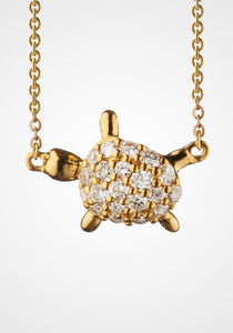 the-conservatory-nyc - MINI TURTLE CHARM NECKLACE, 18K GOLD WITH DIAMONDS - MONICA RICH KOSANN - JEWELRY