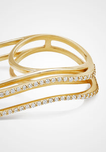 Three Dimensional Wavy Double, 18K Yellow Gold + Full Diamond Pavé Ring