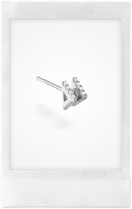 Double Triangle Stud, 18K White Gold + Diamond Pavé Earring