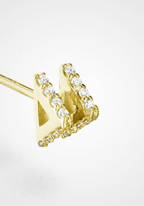 Double Triangle Stud, 18K Yellow Gold + Diamond Pavé Earring