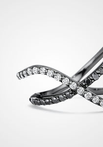 Flou Overlapping Two Row, 18K White Gold Plated Black Rhodium + Diamond Pavé Ring