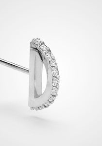 Half Circle Stud, 18K White Gold + Diamond Pavé Earring