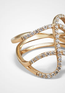 Infinity Three Row Curve, 18K Yellow Gold + Diamond  Pavé Ring