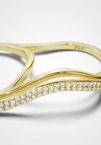 Three-Dimensional Wavy Double, 18K Yellow Gold + Diamond Pavé Ring