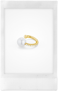 Pearl and Ball, 18K Yellow Gold + Diamond Pavé Ear Cuff