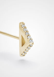 Triangle Stud, 18K Yellow Gold + Diamond Pavé Earring