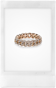 Mini Link, 18K Rose Gold + Diamond Pavé Ring