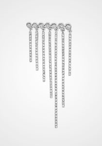 Fringed, 18K White Gold + Diamond Pavé Bezel Row Earrings