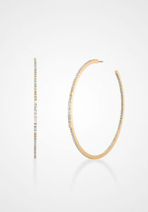 Five Baguette, 18K Yellow Gold + White Diamond Pavé Hoops