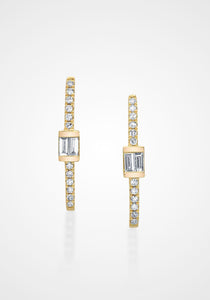 Baguette Bar Hook, 18K Yellow Gold + White Diamond Studs