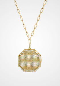 Octagon Disk, 18K Yellow Gold + Diamond Pavé Necklace