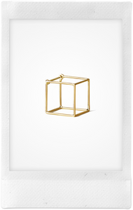 3D Square 18K Yellow Gold Earring, Large