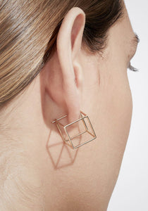 3D Square, 18K Yellow Gold + Diamond Pavé Earring, Large
