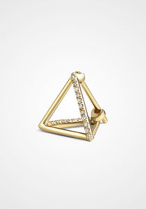 3D Triangle, 18K Yellow Gold + Diamond Pavé Earring, Medium