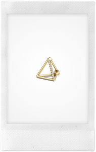 3D Triangle, 18K Yellow Gold + Diamond Pavé Earring, Small