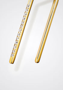Staple Post, 18K Yellow Gold + Diamond Pavé Earring