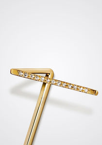 T-Post, 18K Yellow Gold + Diamond Pavé Earring