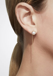 Half Pearl Chain 18K Yellow Gold Earring