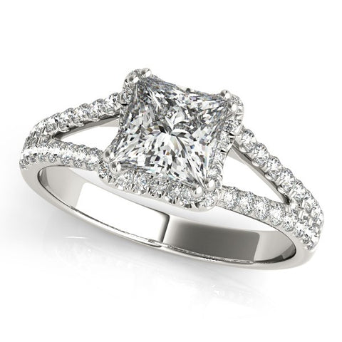 Princess Cut Halo Split Shank Diamond Engagement Ring